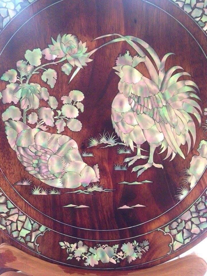 Cẩn ốc đĩa gỗ - Khảm trai đĩa gỗ